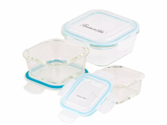 3 boîtes de conservation en verre avec couvercles à clipser