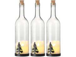 3 bouteilles de vin décoratives avec bougie LED vacillante - Sapin