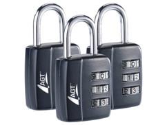 3 cadenas à bagages, code numérique à 3 chiffres, 29 mm