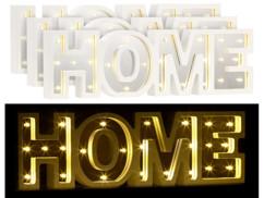 """3 miroirs décoratifs lumineux sans fil """"HOME"""" avec fonction minuteur"""