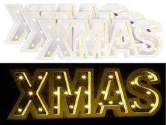 """3 miroirs décoratifs lumineux sans fil """"XMAS"""" avec fonction minuteur"""