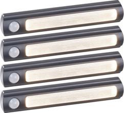 Lampe de placard sans fil à LED avec détecteur - 25 lm - Noir - x4