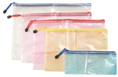 5 pochettes avec fermeture à glissière