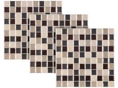 Autocollants décoratifs 3D (x3) - 26 x 26 cm - Mosaïque Brun/beige