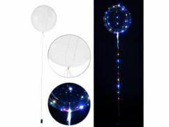 Ballon transparent Ø env. 20 cm avec guirlande à 40 LED - Colorées