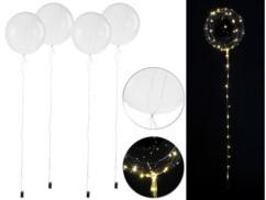 Pack de 4 ballons transparents Ø env. 20 cm avec guirlande à 40 LED -Blanc chaud