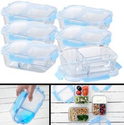 6 boîtes de conservation en verre 1 L avec 3 compartiments