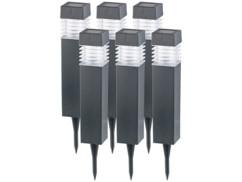 Bornes lumineuses solaires à LED avec capteur de luminosité - Carrées - x6