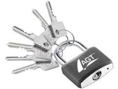 Cadenas à clé - en laiton, acier et aluminium - 43 mm