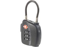 cadenas TSA avec code 3 chiffres et clé pour bagages aeroport arceau souple
