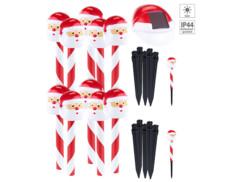 """Ensemble de 10 piquets décoratifs solaires à LED """"Père Noël"""""""
