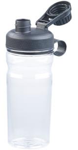 gourde en plastique transparente avec bouchon a vis pour shaker proteines sport musculation fitness running crossfit