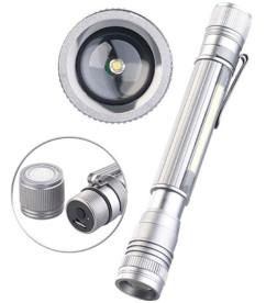 mini lampe de poche couleur argent avec clip ceinture et lampe led de travail avec batterie led kryolights