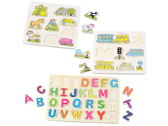 ensemble de 3 mini puzzles formes et lettres alphabet en bois pour enfants et bébés
