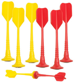 Lot de 6 fléchettes magnétiques jaunes et rouges