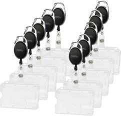 lot de 10 porte badge carte de visite avec derouleur de cable pour salons représentants commerciaux