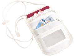 Pochette tour-de-cou unisexe à protection RFID et 4 compartiments - Beige