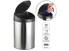 poubelle avec ouverture automatique sans contact 58 litres minuteur réglable
