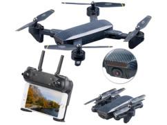 mini dorne pliable quadricoptere gh55 avec 2 cameras hd et stabilisateur flux optique simulus