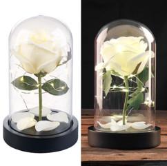 Rose artificielle avec cloche en verre et lumière LED - Blanche