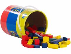 Seau de 100 blocs de construction en bois en 4 couleurs et 6 formes
