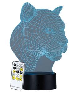 """Socle lumineux décoratif à LED """"LS-7.3D"""" - Motif Léopard"""