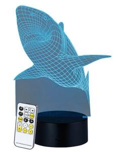 "Socle lumineux décoratif à LED ""LS-7.3D"" - Motif Requin"