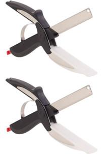 2 trancheurs de cuisine 2 en 1 : couteau-ciseaux avec mini planche à découper