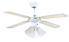 ventilateur de plafond avec pales en bois blanc et luminaire retro VT696