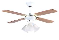 ventilateur de plafond avec pales en bois brun et luminaire retro VT696