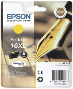Cartouche originale Epson ''T163440'' N°16XL Stylo plume jaune