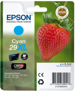 Cartouches originales Epson ''T2992'' Fraise Série n°29 XL - Cyan