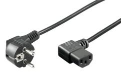 cable d'alimentation informatique PC iec coudé avec fiche 230v 2p+t longueur 2m noir