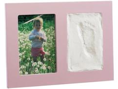 Cadre photo 2en1 avec empreinte - rose