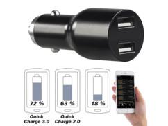 Chargeur USB allume-cigare & adaptateur pour application carnet de route avec Quick Charge 3.0