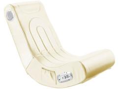 Fauteuil gaming blanc avec haut-parleurs intégrés reconditionné.
