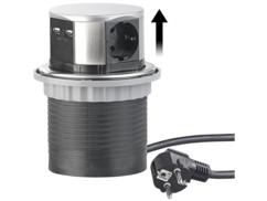 Multiprise encastrable Ø 100mm avec 3prises et 2ports USB