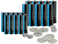 32 piles AA, AAA et bouton alcalines / lithium