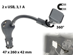 support smartphone magnétique pour prise allume cigare avec double chargeur usb 2,1a callstel