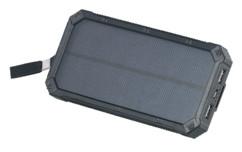Batterie de secours solaire 12000 mAh avec 2 ports USB + mini lampe LED