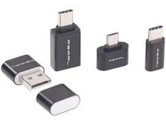 Lecteur de cartes MicroSD et adaptateurs OTG pour Micro-USB et USB-C