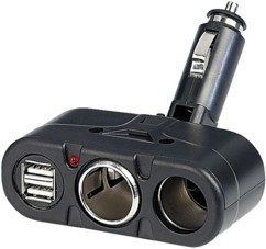 Multiprise allume-cigare avec 2 prises 12V et 2 prises USB 5V, 4.8 A