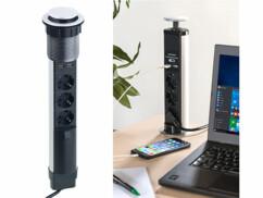 Multiprise encastrable pour bureau, 3 prises 230V + 2 USB