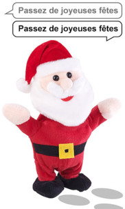 Peluche parlante 22 cm avec microphone intégré - Père Noël