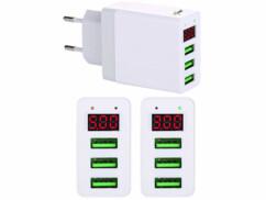 Chargeur secteur USB intelligent avec 3ports USB - 3,1A/ 15,5W