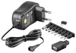 chargeur secteur 1000 ma 1a avec adaptateurs PC et USB femelle revolt