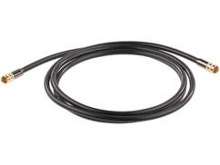 Cable antenne coaxial avec fiche f droit male male dorés haute performance auvisio 2m