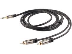 cable audio cinch male vers jack 3,5mm mâle connecteurs dorés 24 carats cable en cuivre double blindage 1 m
