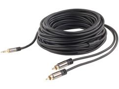 cable audio cinch male vers jack 3,5mm mâle connecteurs dorés 24 carats cable en cuivre double blindage 10 m