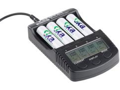 Chargeur d'accus rapide avec écran LCD et port de chargement USB